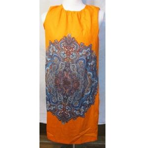 Zara Basics Orange Blue Damask Shift Dress